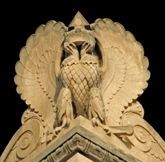 Two Headed Eagle on Each Corner of the Temple Roof