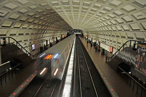 Arriving at Dupont Circle Metro Station: Train Headed North