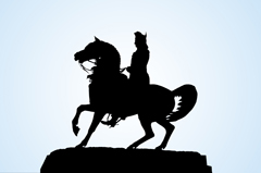 George Washington Equestrian Sculpture at Washington Circle in Silhouette