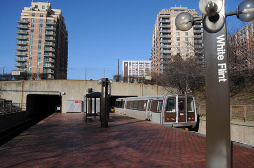 Train to Shady Grove Leaving White Flint Metro Station