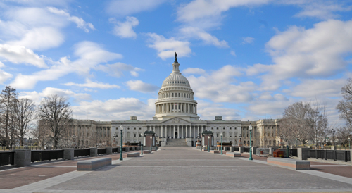 United States Capitol - East Side - Photograph Taken from First Street Where It Changes From NE to SE