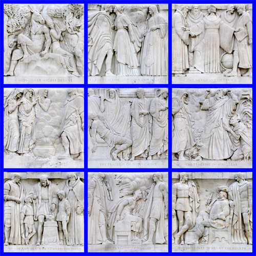 The Nine Marble Bas Relief Sculptures Along the Front of the Folger Shakespeare Library