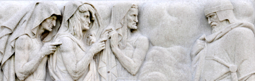 Folger Shakespeare Library - Marble Bas Relief Sculpture Depicting Macbeth with the Three Witches