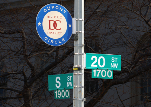 Dupont Circle DC Historic District Sign at 20th and S Streets NW, Across 20th Street from 2000 S Street NW, the Real World DC House