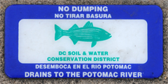 No Dumping Sign by DC Soil & Water Conservation District Warning That Water Drains to the Potomac River