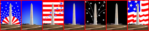 Washington Monument With a Variety of Background Images