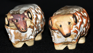 Tremar Pottery Farm Animals - Two Rams, One With a Darker Face and One With a Lighter Face