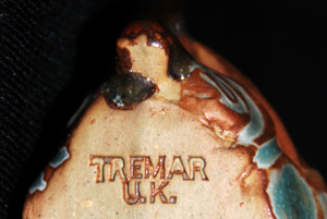 Tremar Pottery Marking - An Unusually Clear Tremar Mark Where the Tremar Stamp Had Apparently Been Dipped In Glaze Before Use - This Mark Is On A Tugboat From the Tremar Ship Series