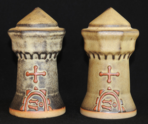 Two Tremar Pottery Castle Money Boxes/Piggy Banks - These two castles show some of the color variations often seen in Tremar pieces.
