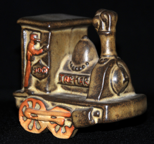Tremar Pottery Train Money Box/Piggy Bank - Front, Right Side View