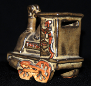 Tremar Pottery Train Money Box/Piggy Bank - Rear View Showing Coin Slot
