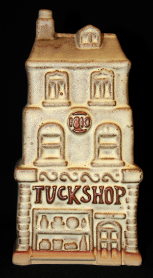 Tremar Pottery Tuck Shop Money Box/Piggy Bank - A Tuck Shop is a small shop in the UK that sells food, usually sweets including candy and cakes.