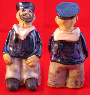 Tremar Pottery People Series - Sailor - Front and Back Images - Photo by lansdorf on www.ebay.co.uk