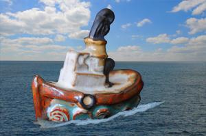 Tremar Pottery - Ships - Tugboat in Service - For more information about the Tremar Pottery Ships, please click on the link below.