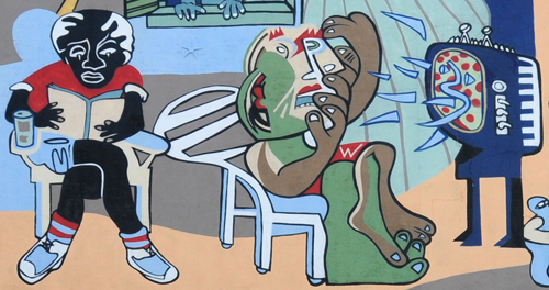 A People without Murals is a Demuralized People - Detail - Reading and Watching Television