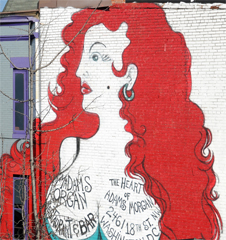 Red Haired Woman of Adams Morgan Painted on the Side of 2461 18th Street NW