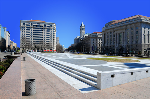 Freedom Plaza in the Foreground - Looking Southeast Along Pennsylvania Avenue With The United States Capitol Visible In the Distance