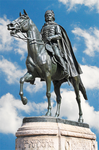 Equestrian Statute of Brigadier General Casimir Pulaski in Freedom Plaza, Washington, DC