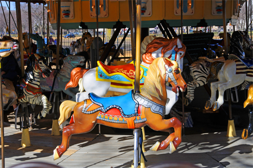 Horses and Zebras Are Some of the Ride-Worthy Animals in the Carousel on the Mall