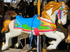 Carousel on the Mall - White Horse With Golden Mane