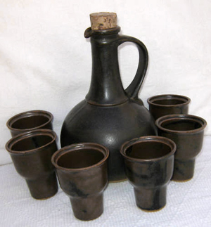 Tremar Pottery - Carafe, Wine Plus Six Goblets - This set includes some very interesting and unusual goblets. - Photo by slyfoxes1 on www.ebay.co.uk