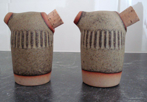 Tremar Pottery - Shakers, Salt and Pepper - Geometric Vertical Line Design - View from Side - Photo by Gerard O.
