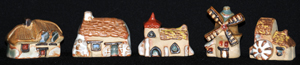 Tremar Pottery Little Building Series - Five Buildings - Thatched Cottage, Moorland Cottage, Church, Windmill, Watermill