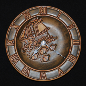 Tremar Pottery - Wall Clock - Design Includes Combination Sailing and Powered Ship Above the Waves and Fish Swimming Below the Ocean Surface
