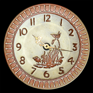 Tremar Pottery - Wall Clock - Bird and Vegetation Design With Edge of Repeating Leaves