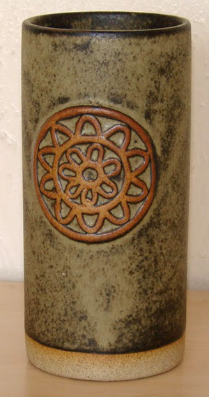 Tremar Pottery - Vase - Medium Color Brown or Beige - 7 inches tall, 3 inch diameter - Photo by 6965pauline on www.ebay.co.uk