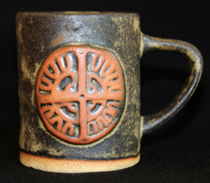 Tremar Mug With Celtic Design - Approximately 3.5 inches (9 cm) high; 3 inches (7.5 cm) diameter