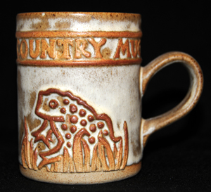 Tremar Country Mug With Frog or Toad Design - Approximately 3.75 inches (9.5 cm) high; 3 inches (7.5 cm) diameter