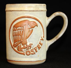 Tremar Oval Design Mug - Osprey - Approximately 4.5 inches (11.5 cm) high; 3.125 inches (8 cm) diameter