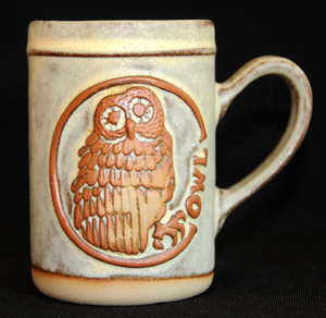Tremar Oval Design Mug - Owl - Approximately 4.5 inches (11.5 cm) high; 3.125 inches (8 cm) diameter