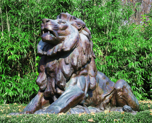 Bronze Lion Guarding the Pedestrian Entrance to the National Zoo at Connecticut Avenue NW, Washington DC