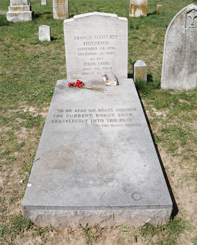 Headstone and Flat Grave Marker for F. Scott Fitzgerald and His Wife Zelda Sayre in Old St. Mary's Cemetery, Rockville, Maryland