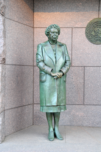 Statue of Eleanor Roosevelt With UN Seal In the Background - Created by Sculptor Neil Estern - Located in the Franklin Delano Roosevelt Memorial
