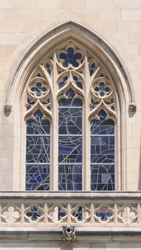 Space Window Stained Glass with Fragment of Moon Rock - National Cathedral in Washington DC- Viewed from Outside on a Bright Day