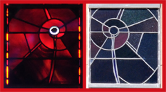 Red Stained Glass Panel of the Space Window - Mirror Images Viewed from Inside and Outside on a Bright Day