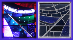 Blue, Purple, Green and Red Stained Glass Panel of the Space Window - Mirror Images Viewed from Inside and Outside on a Bright Day - Notice the Piece Toward the Center, Blue in Reflected Light and Green in Light That Has Passed Through the Glass