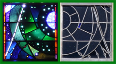 Green Stained Glass Panel of the Space Window - Mirror Images Viewed from Inside and Outside on a Bright Day