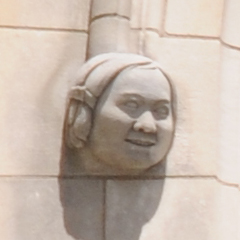 Carved Face To The Left of the Space Window