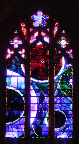 Space Window Stained Glass with Fragment of Moon Rock - National Cathedral in Washington DC