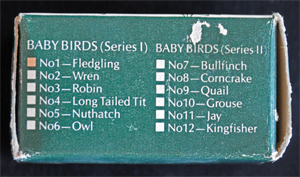 Multi-Use Box - This shows the panel on the side of the Multi-Use Box for the Baby Birds series where a mark would indicate which type of baby bird was inside the box. This box is marked for the Fledgling.