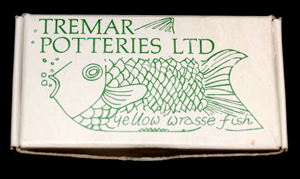 Early Open Drawing Box - This was probably the first type of box used for the Yellow Wrasse, one of two tropical fish produced by Tremar Potteries.