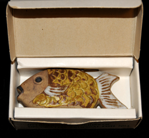 Early Open Drawing Box with Yellow Wrasse Fish Inside