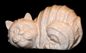 Shelf Pottery - Shelf Concept - Cat Money Box/Piggy Bank in mottled pink, peach and white.