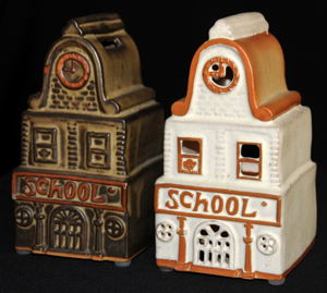 Tremar Pottery School Money Box/Piggy Bank (dark brown example) on Left - Shelf Pottery Ltd School Lamp on Right