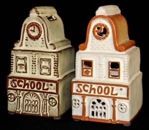 Tremar Pottery School Money Box/Piggy Bank (tan example) on Left - Shelf Pottery Ltd School Lamp on Right