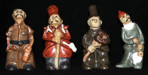 Country Craft Potteries Figures from Tremar Pottery People Molds: Carpenter, Soldier, Chimneysweep, Fisherman – Front View